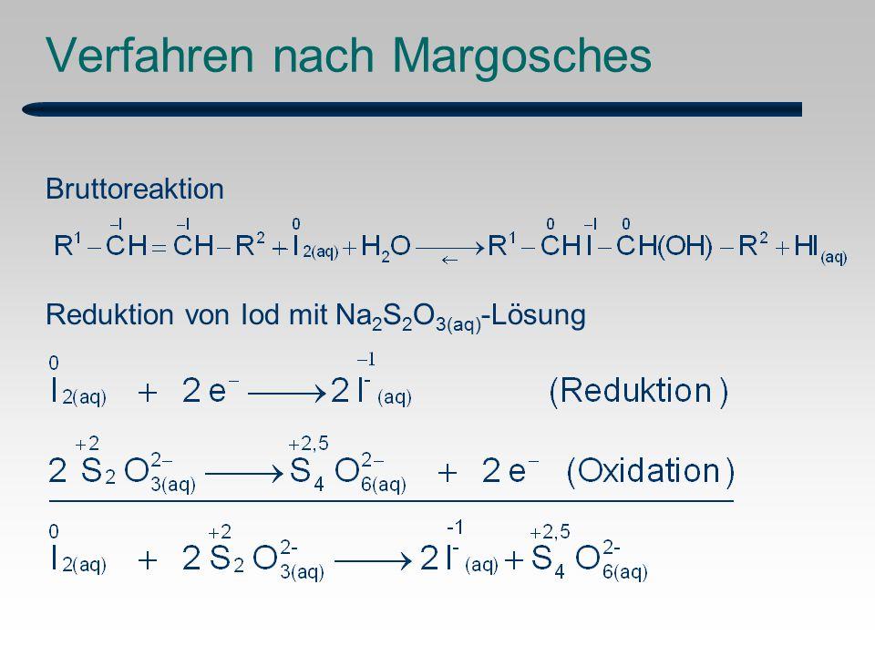 Bruttoreaktion Reduktion von Iod mit Na 2 S 2 O 3(aq) -Lösung