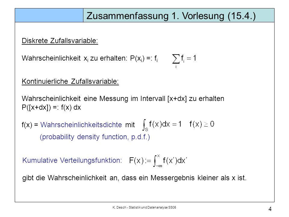 K. Desch - Statistik und Datenanalyse SS05 4 Diskrete Zufallsvariable: Wahrscheinlichkeit x i zu erhalten: P(x i ) =: f i Kontinuierliche Zufallsvaria
