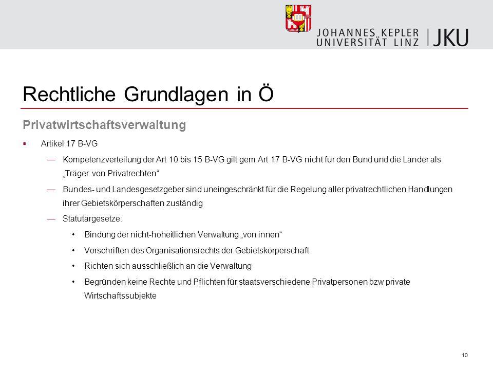 10 Rechtliche Grundlagen in Ö Privatwirtschaftsverwaltung  Artikel 17 B-VG —Kompetenzverteilung der Art 10 bis 15 B-VG gilt gem Art 17 B-VG nicht für