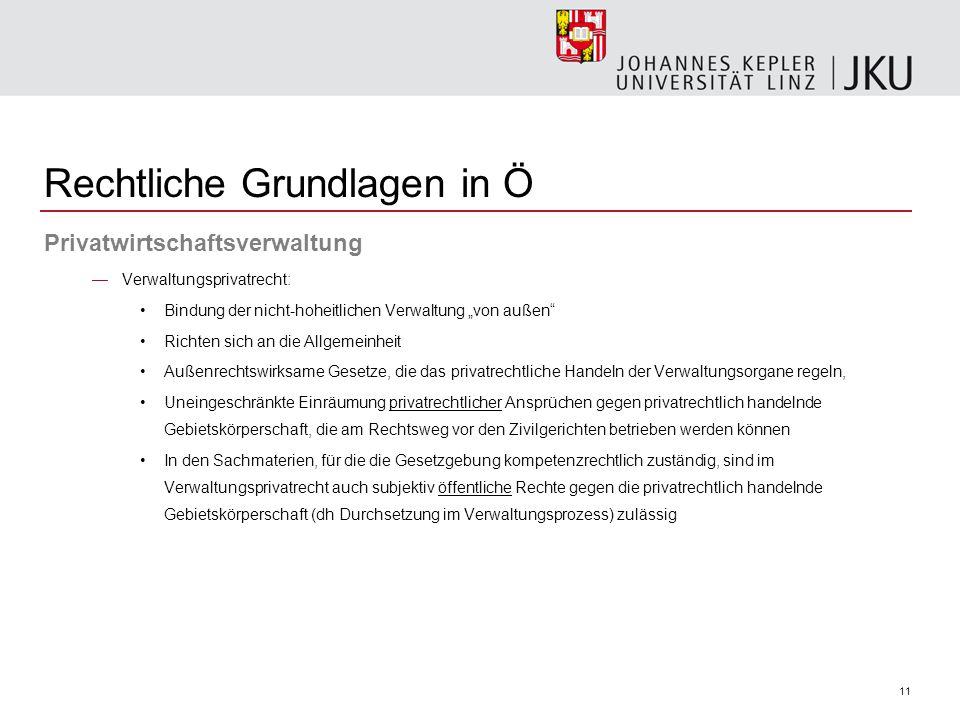 """11 Rechtliche Grundlagen in Ö Privatwirtschaftsverwaltung —Verwaltungsprivatrecht: Bindung der nicht-hoheitlichen Verwaltung """"von außen"""" Richten sich"""
