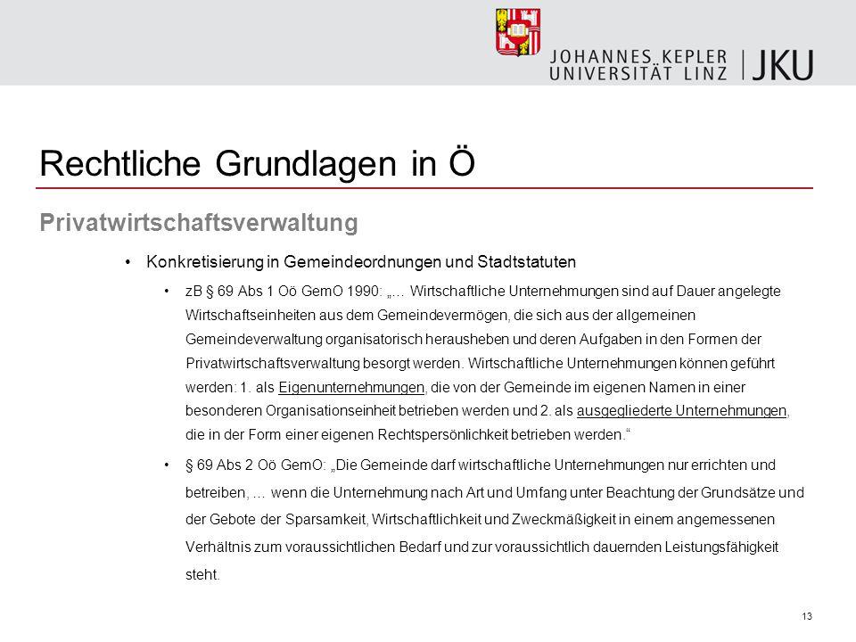 """13 Privatwirtschaftsverwaltung Konkretisierung in Gemeindeordnungen und Stadtstatuten zB § 69 Abs 1 Oö GemO 1990: """"… Wirtschaftliche Unternehmungen si"""