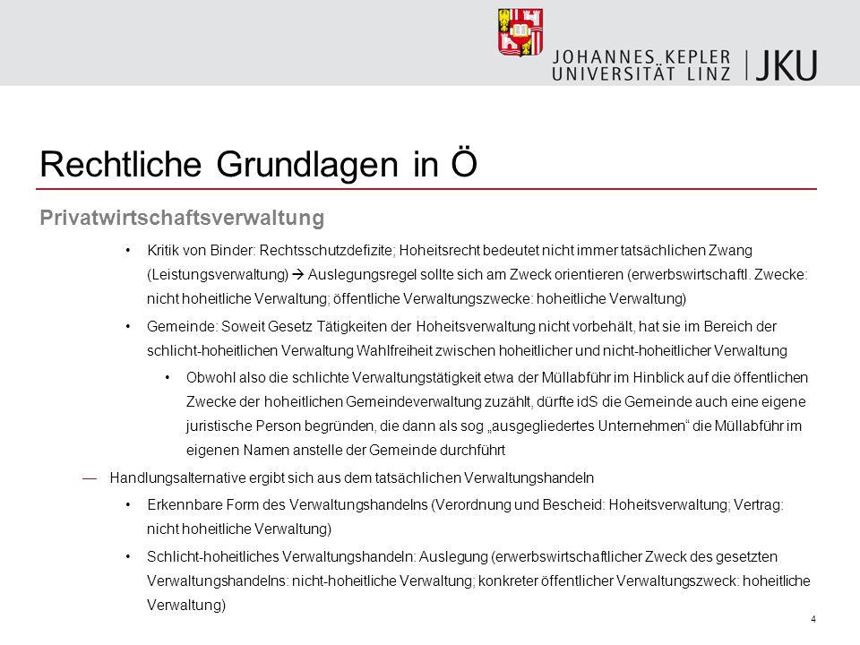 4 Privatwirtschaftsverwaltung Kritik von Binder: Rechtsschutzdefizite; Hoheitsrecht bedeutet nicht immer tatsächlichen Zwang (Leistungsverwaltung)  A