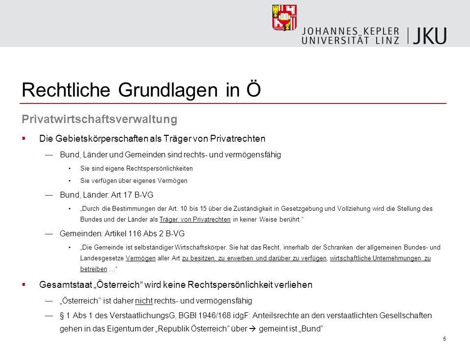 16 Privatwirtschaftsverwaltung  Legalitätsgrundsatz gem Art 18 Abs 1 B-VG —hL: Art 18 Abs 1 B-VG nur für Hoheitsverwaltung relevant (vgl Öhlinger Verfassungsrecht, 7.