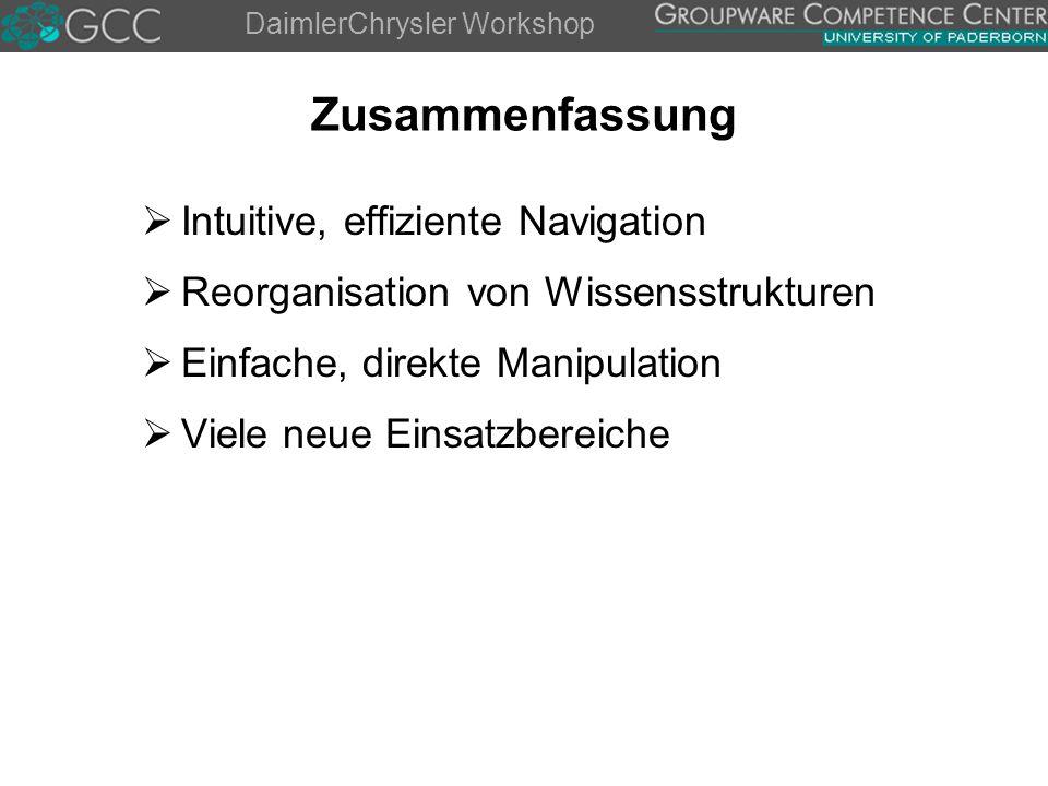 DaimlerChrysler Workshop Zusammenfassung  Intuitive, effiziente Navigation  Reorganisation von Wissensstrukturen  Einfache, direkte Manipulation  Viele neue Einsatzbereiche