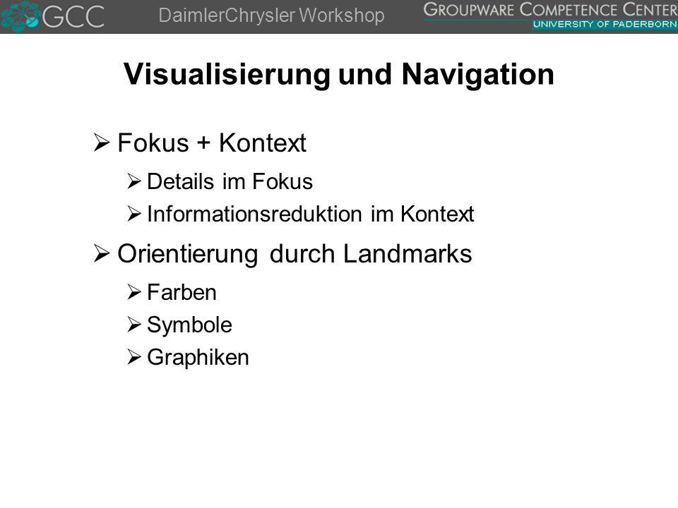 DaimlerChrysler Workshop Visualisierung und Navigation  Fokus + Kontext  Details im Fokus  Informationsreduktion im Kontext  Orientierung durch Landmarks  Farben  Symbole  Graphiken