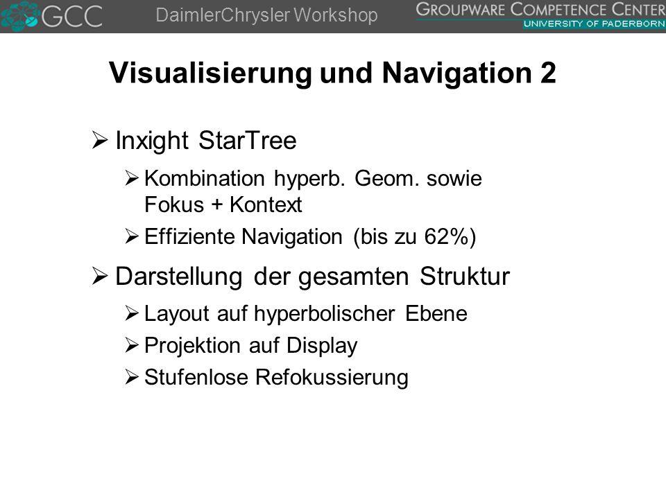 DaimlerChrysler Workshop Visualisierung und Navigation 2  Inxight StarTree  Kombination hyperb.