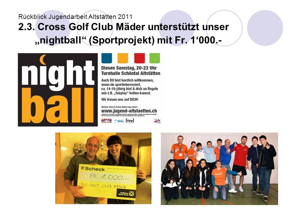 "Rückblick Jugendarbeit Altstätten 2011 2.3. Cross Golf Club Mäder unterstützt unser ""nightball"" (Sportprojekt) mit Fr. 1'000.-"