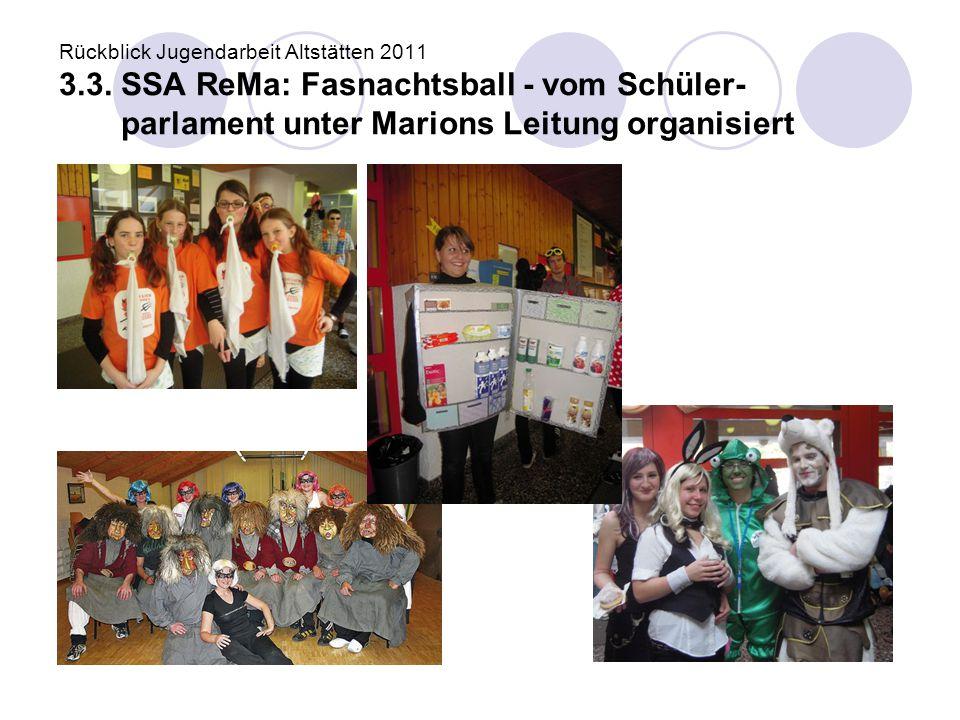 Rückblick Jugendarbeit Altstätten 2011 3.3. SSA ReMa: Fasnachtsball - vom Schüler- parlament unter Marions Leitung organisiert