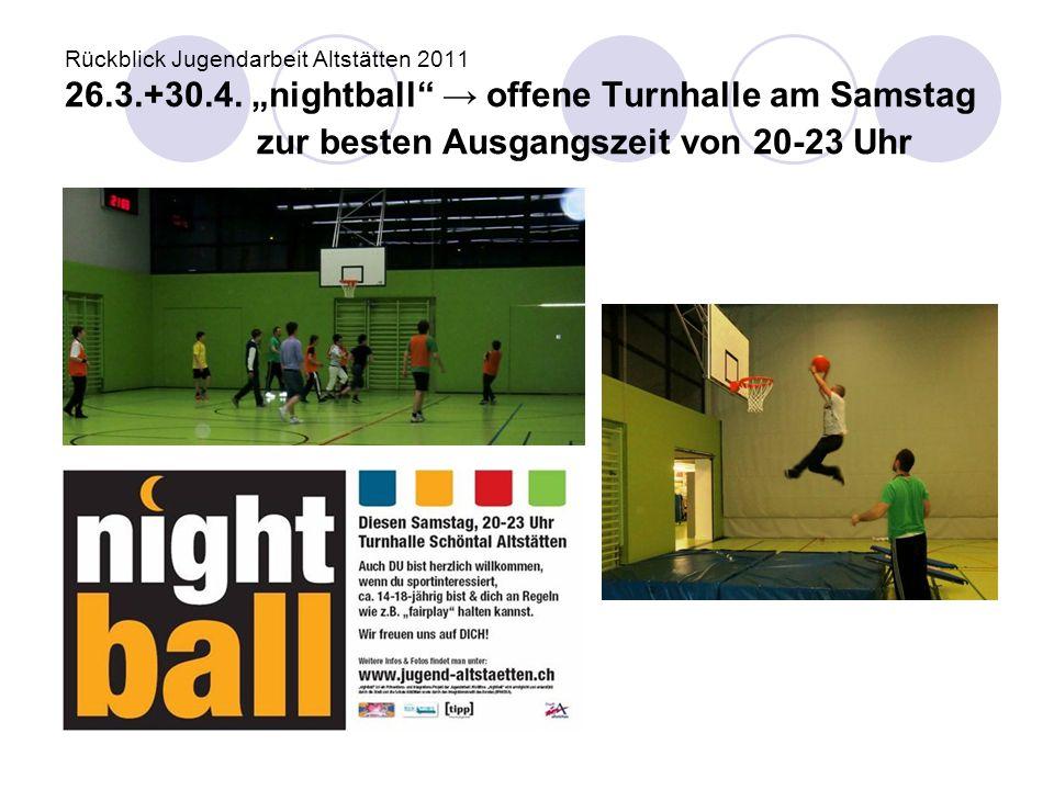"""Rückblick Jugendarbeit Altstätten 2011 26.3.+30.4. """"nightball"""" → offene Turnhalle am Samstag zur besten Ausgangszeit von 20-23 Uhr"""