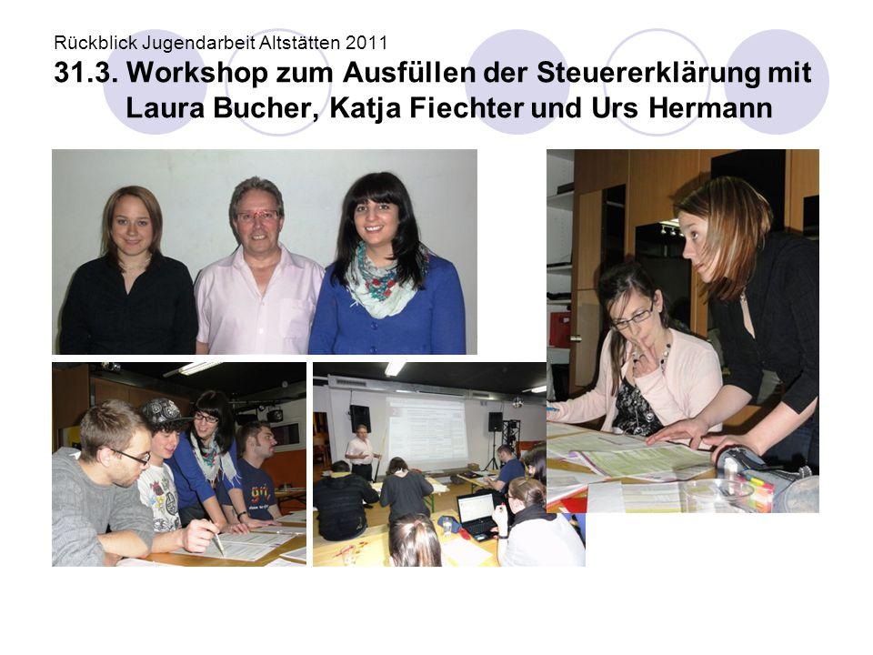 Rückblick Jugendarbeit Altstätten 2011 31.3. Workshop zum Ausfüllen der Steuererklärung mit Laura Bucher, Katja Fiechter und Urs Hermann
