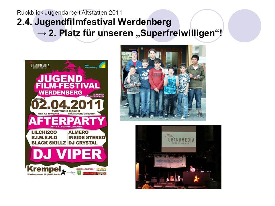 "Rückblick Jugendarbeit Altstätten 2011 2.4. Jugendfilmfestival Werdenberg → 2. Platz für unseren ""Superfreiwilligen""!"