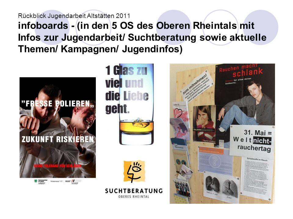 Rückblick Jugendarbeit Altstätten 2011 infoboards - (in den 5 OS des Oberen Rheintals mit Infos zur Jugendarbeit/ Suchtberatung sowie aktuelle Themen/