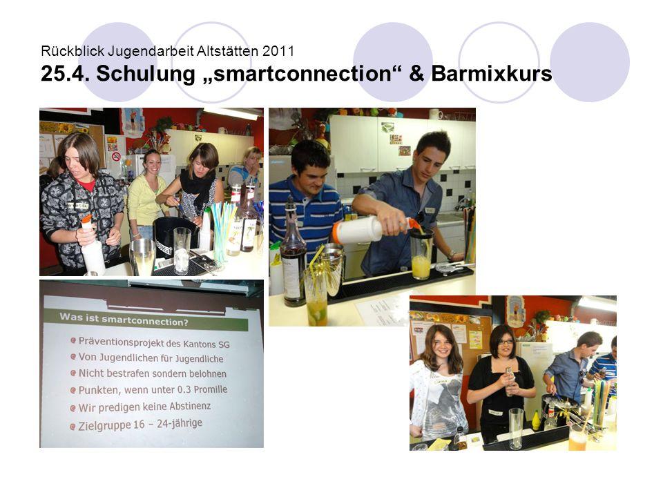 """Rückblick Jugendarbeit Altstätten 2011 25.4. Schulung """"smartconnection"""" & Barmixkurs"""