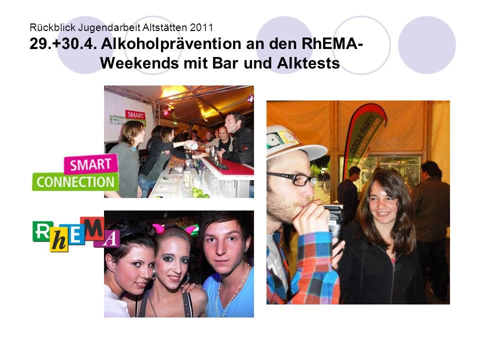 Rückblick Jugendarbeit Altstätten 2011 29.+30.4. Alkoholprävention an den RhEMA- Weekends mit Bar und Alktests