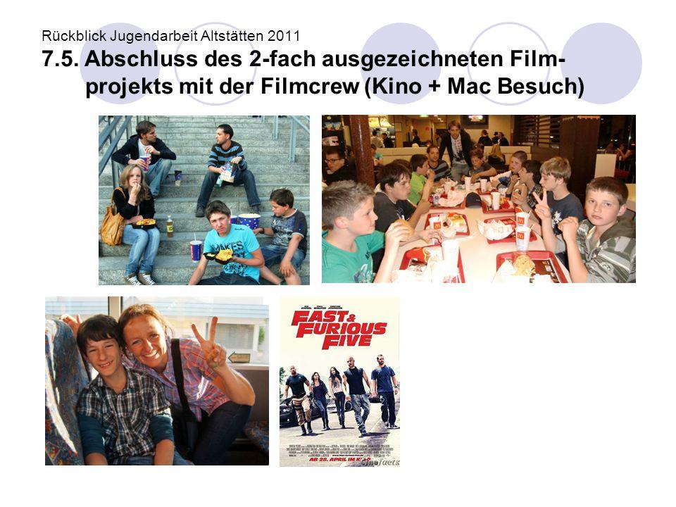 Rückblick Jugendarbeit Altstätten 2011 7.5. Abschluss des 2-fach ausgezeichneten Film- projekts mit der Filmcrew (Kino + Mac Besuch)