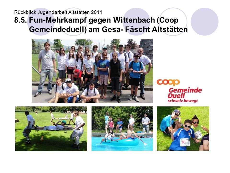 Rückblick Jugendarbeit Altstätten 2011 8.5. Fun-Mehrkampf gegen Wittenbach (Coop Gemeindeduell) am Gesa- Fäscht Altstätten