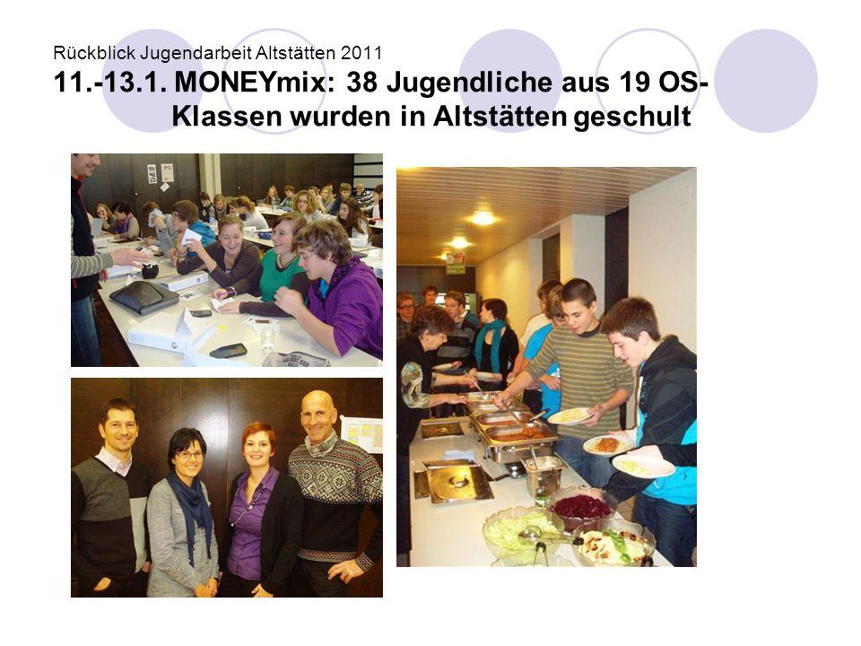 Rückblick Jugendarbeit Altstätten 2011 11.-13.1. MONEYmix: 38 Jugendliche aus 19 OS- Klassen wurden in Altstätten geschult