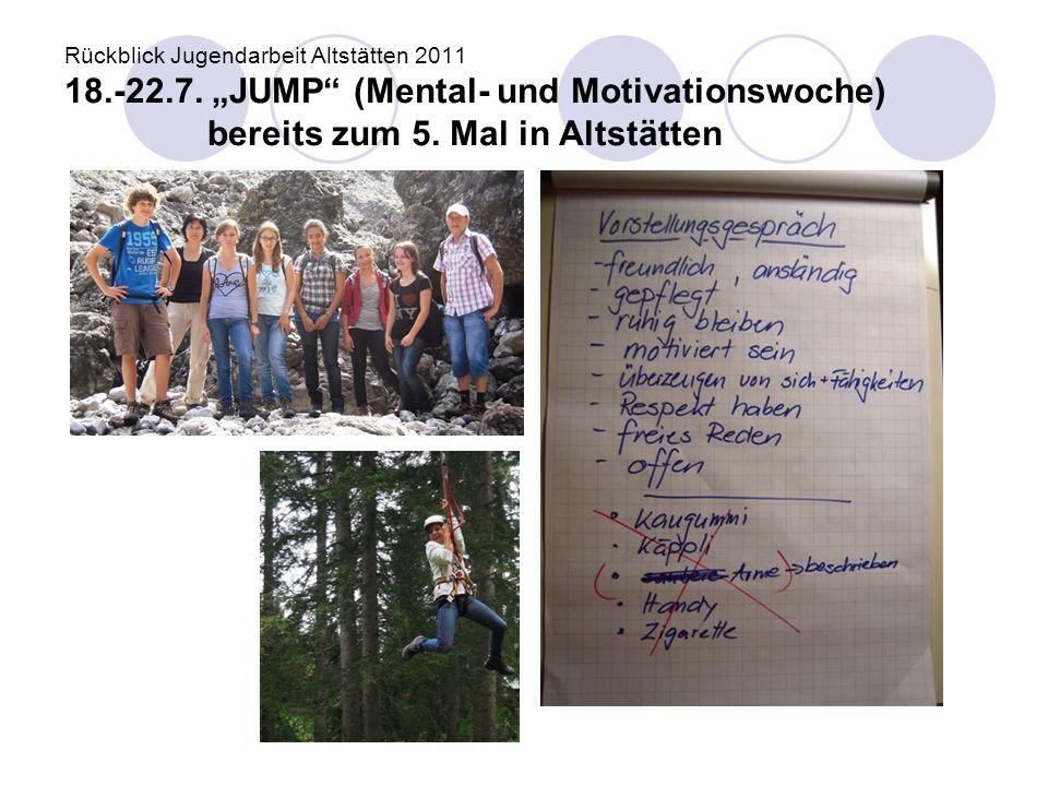 """Rückblick Jugendarbeit Altstätten 2011 18.-22.7. """"JUMP"""" (Mental- und Motivationswoche) bereits zum 5. Mal in Altstätten"""