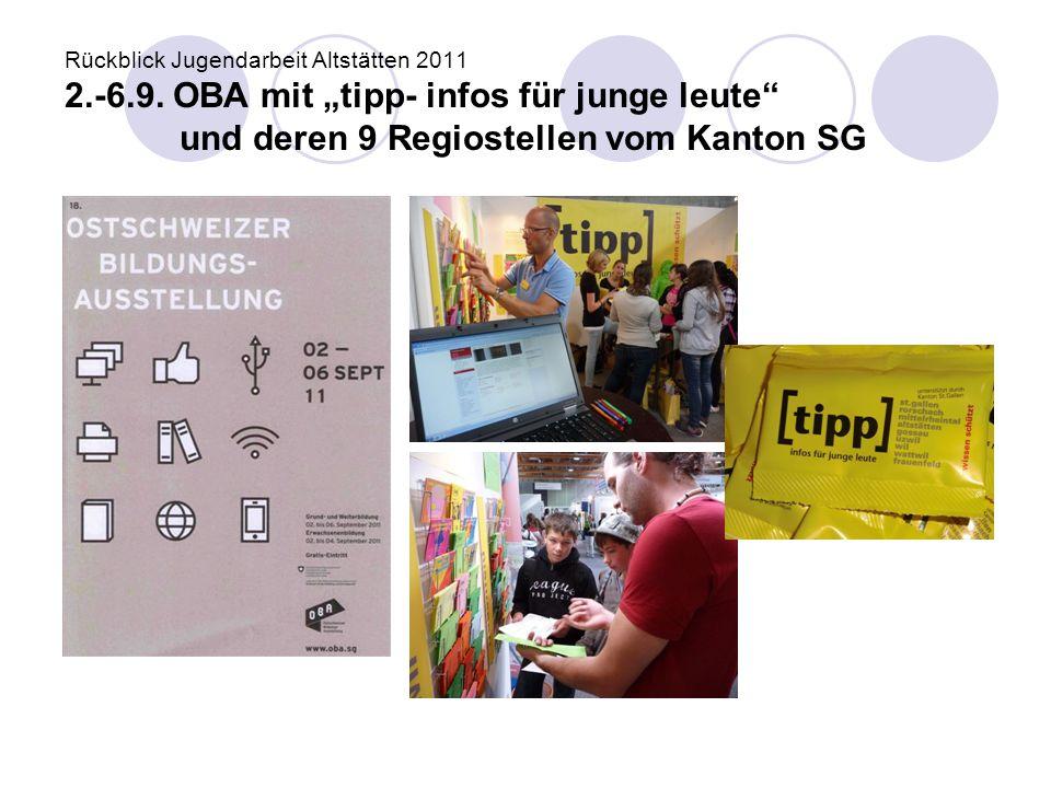 """Rückblick Jugendarbeit Altstätten 2011 2.-6.9. OBA mit """"tipp- infos für junge leute"""" und deren 9 Regiostellen vom Kanton SG"""