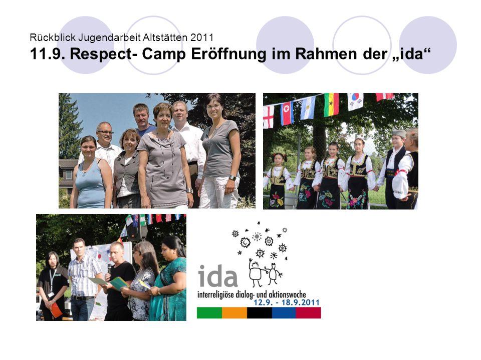 """Rückblick Jugendarbeit Altstätten 2011 11.9. Respect- Camp Eröffnung im Rahmen der """"ida"""""""