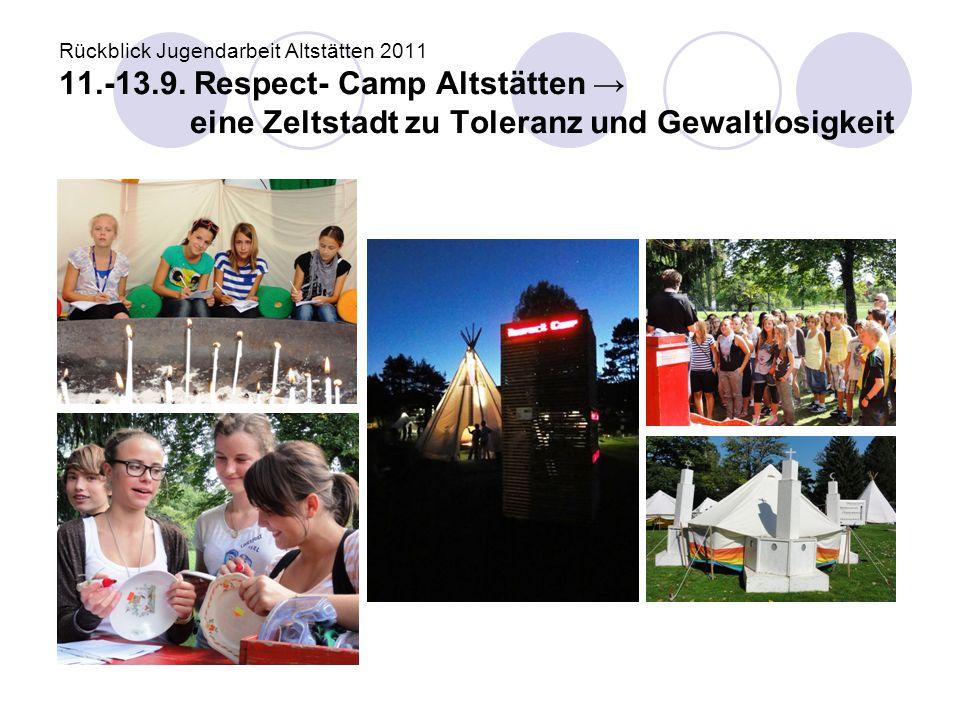 Rückblick Jugendarbeit Altstätten 2011 11.-13.9. Respect- Camp Altstätten → eine Zeltstadt zu Toleranz und Gewaltlosigkeit