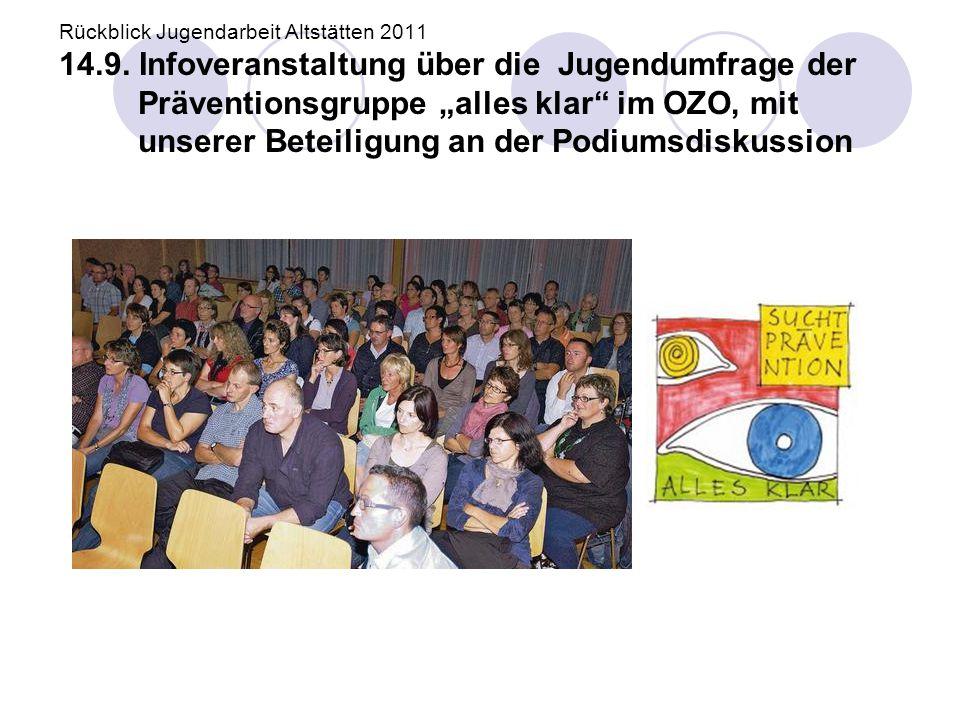 """Rückblick Jugendarbeit Altstätten 2011 14.9. Infoveranstaltung über die Jugendumfrage der Präventionsgruppe """"alles klar"""" im OZO, mit unserer Beteiligu"""