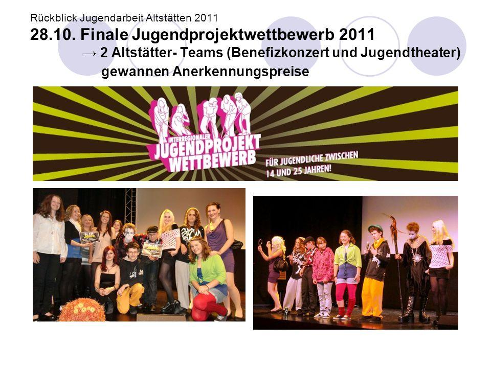 Rückblick Jugendarbeit Altstätten 2011 28.10. Finale Jugendprojektwettbewerb 2011 → 2 Altstätter- Teams (Benefizkonzert und Jugendtheater) gewannen An