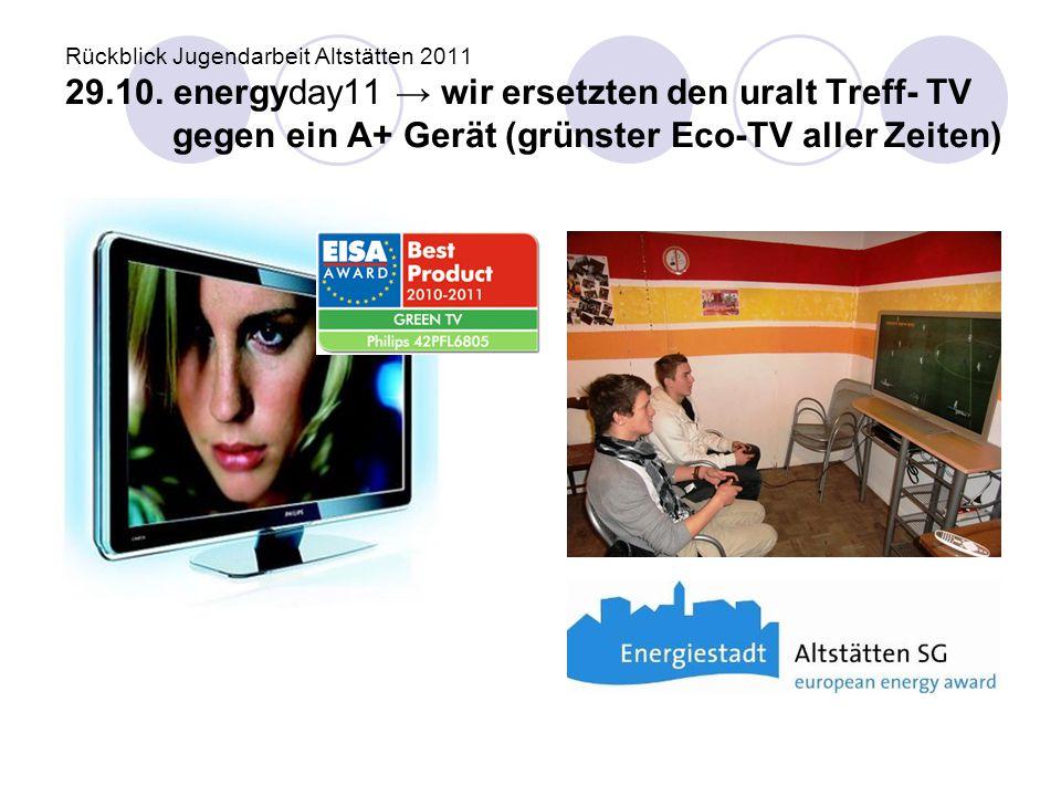 Rückblick Jugendarbeit Altstätten 2011 29.10. energyday11 → wir ersetzten den uralt Treff- TV gegen ein A+ Gerät (grünster Eco-TV aller Zeiten)