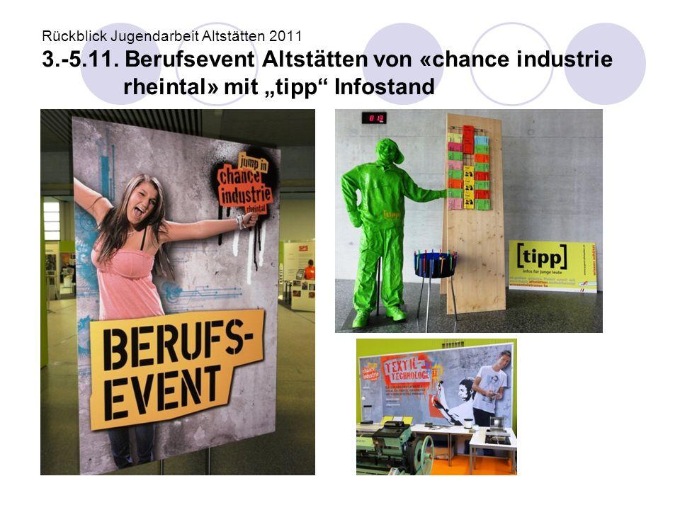 """Rückblick Jugendarbeit Altstätten 2011 3.-5.11. Berufsevent Altstätten von «chance industrie rheintal» mit """"tipp"""" Infostand"""