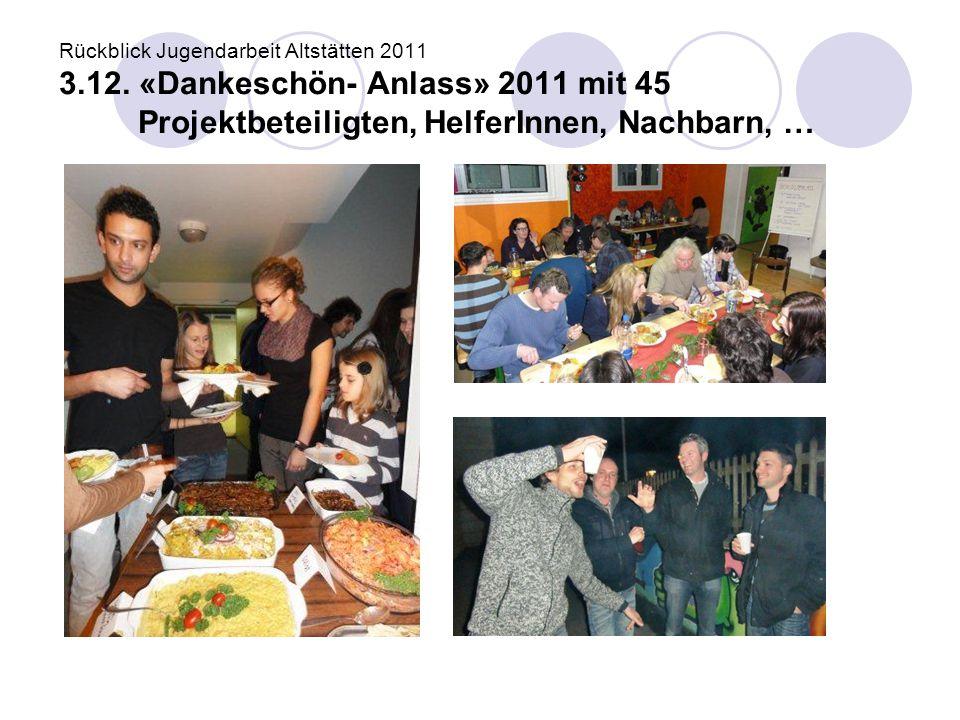 Rückblick Jugendarbeit Altstätten 2011 3.12. «Dankeschön- Anlass» 2011 mit 45 Projektbeteiligten, HelferInnen, Nachbarn, …