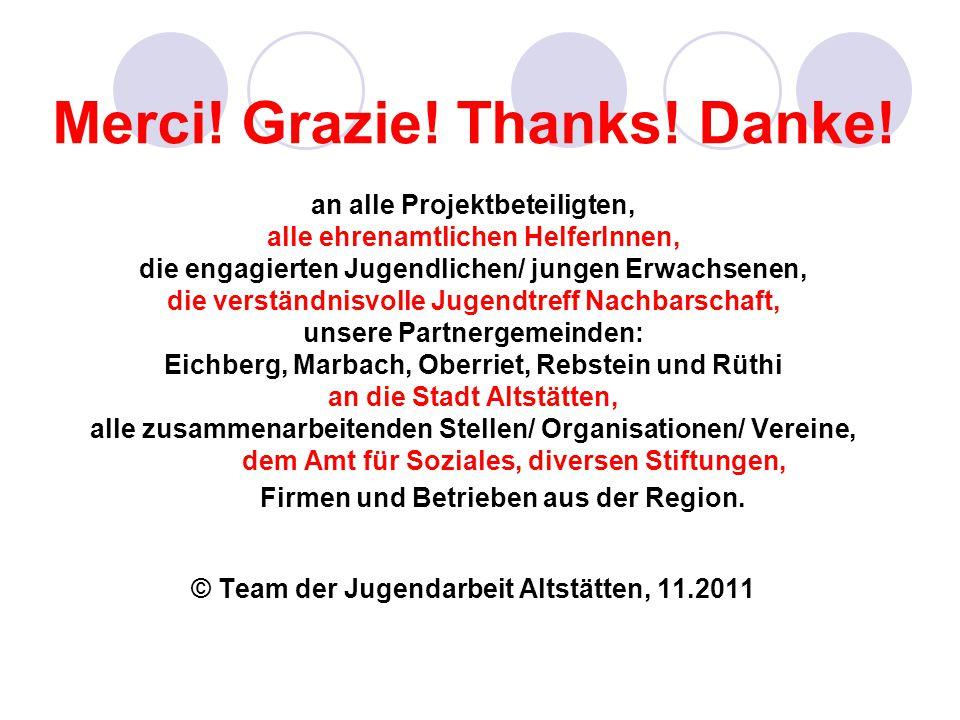 Merci! Grazie! Thanks! Danke! an alle Projektbeteiligten, alle ehrenamtlichen HelferInnen, die engagierten Jugendlichen/ jungen Erwachsenen, die verst