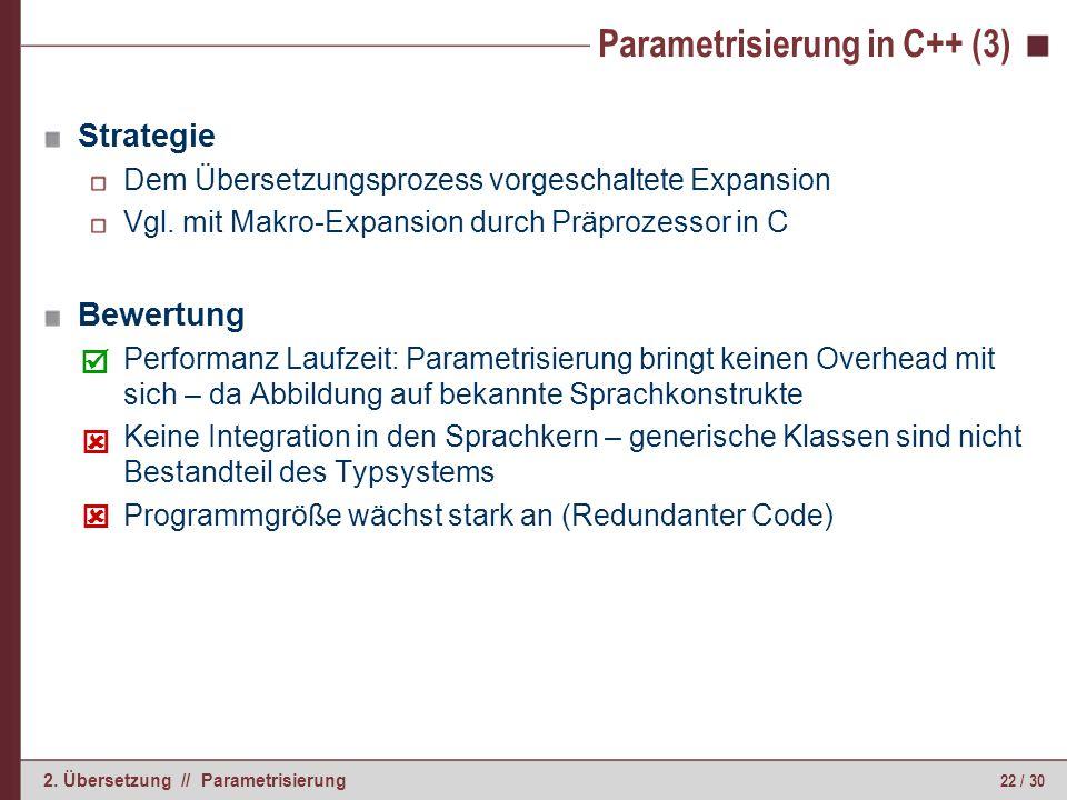 22 / 30 2. Übersetzung // Parametrisierung Strategie Dem Übersetzungsprozess vorgeschaltete Expansion Vgl. mit Makro-Expansion durch Präprozessor in C