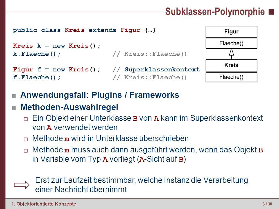 6 / 30 1. Objektorientierte Konzepte Subklassen-Polymorphie Anwendungsfall: Plugins / Frameworks Methoden-Auswahlregel Ein Objekt einer Unterklasse B