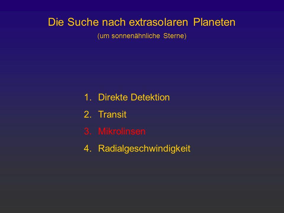 Die Suche nach extrasolaren Planeten (um sonnenähnliche Sterne) 1.Direkte Detektion 2.Transit 3.Mikrolinsen 4.Radialgeschwindigkeit