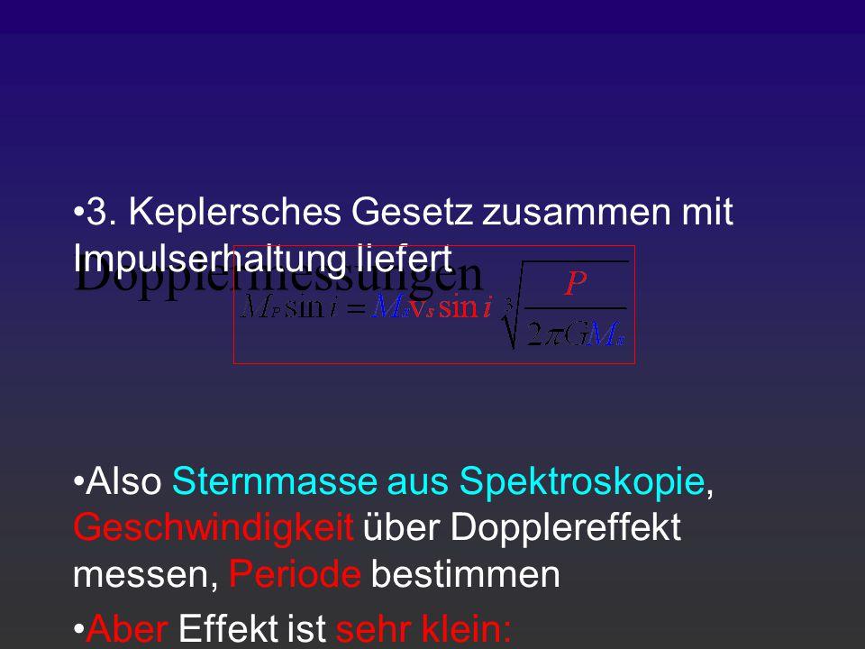 Dopplermessungen 3. Keplersches Gesetz zusammen mit Impulserhaltung liefert Also Sternmasse aus Spektroskopie, Geschwindigkeit über Dopplereffekt mess