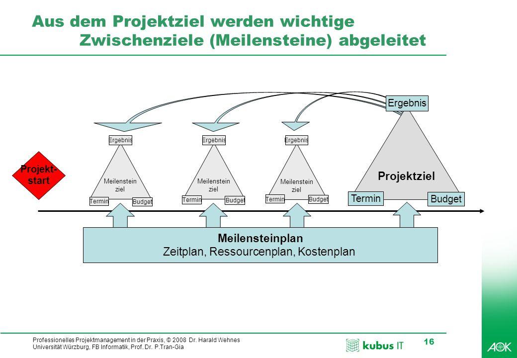 kubus IT Professionelles Projektmanagement in der Praxis, © 2008 Dr. Harald Wehnes Universität Würzburg, FB Informatik, Prof. Dr. P.Tran-Gia 16 Aus de