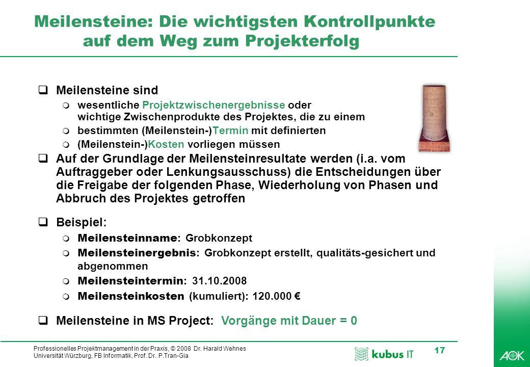 kubus IT Professionelles Projektmanagement in der Praxis, © 2008 Dr. Harald Wehnes Universität Würzburg, FB Informatik, Prof. Dr. P.Tran-Gia 17 Meilen