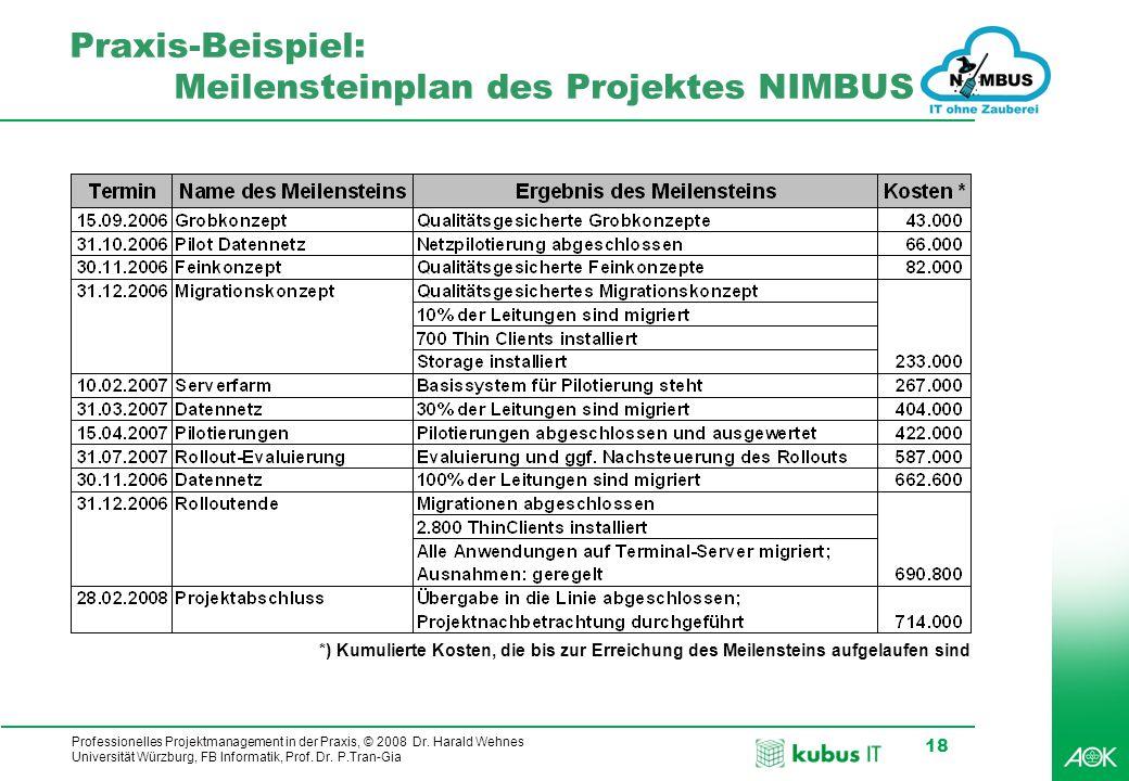 kubus IT Professionelles Projektmanagement in der Praxis, © 2008 Dr. Harald Wehnes Universität Würzburg, FB Informatik, Prof. Dr. P.Tran-Gia 18 Praxis