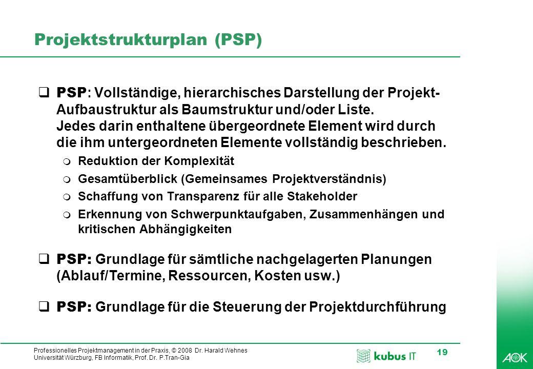 kubus IT Professionelles Projektmanagement in der Praxis, © 2008 Dr. Harald Wehnes Universität Würzburg, FB Informatik, Prof. Dr. P.Tran-Gia 19 Projek