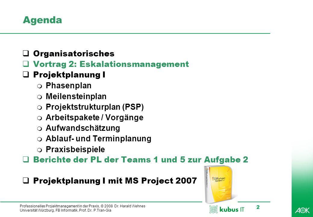 kubus IT Professionelles Projektmanagement in der Praxis, © 2008 Dr. Harald Wehnes Universität Würzburg, FB Informatik, Prof. Dr. P.Tran-Gia 2 Agenda