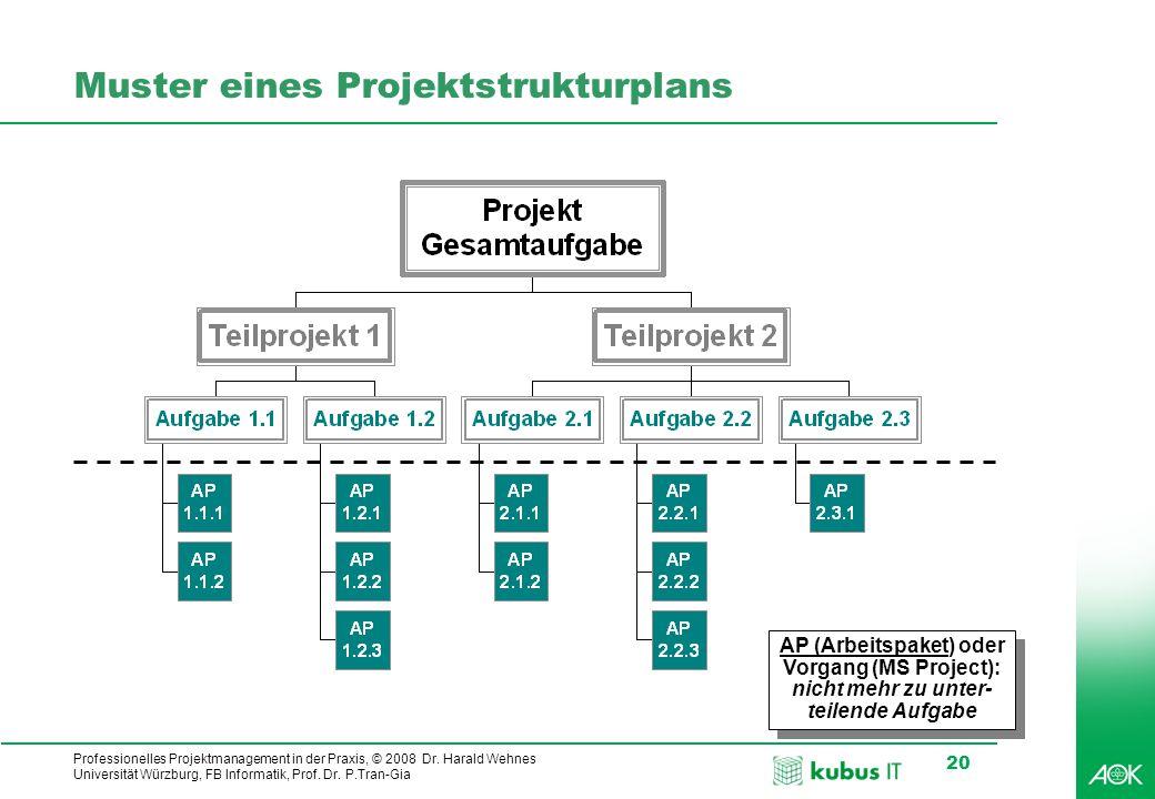 kubus IT Professionelles Projektmanagement in der Praxis, © 2008 Dr. Harald Wehnes Universität Würzburg, FB Informatik, Prof. Dr. P.Tran-Gia 20 Muster