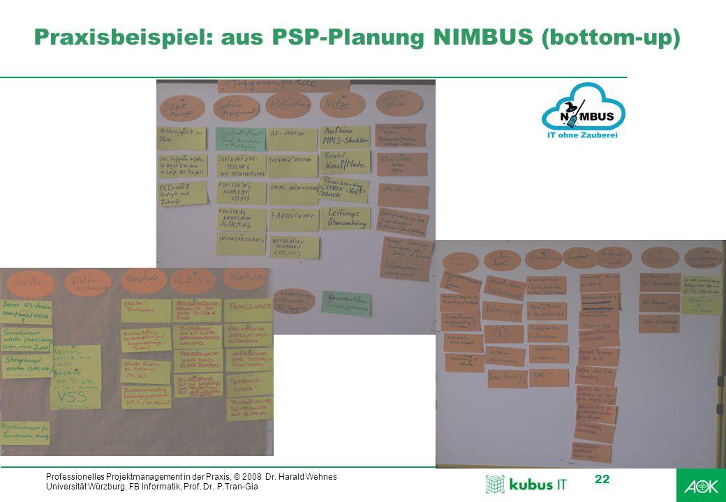 kubus IT Professionelles Projektmanagement in der Praxis, © 2008 Dr. Harald Wehnes Universität Würzburg, FB Informatik, Prof. Dr. P.Tran-Gia 22 Praxis