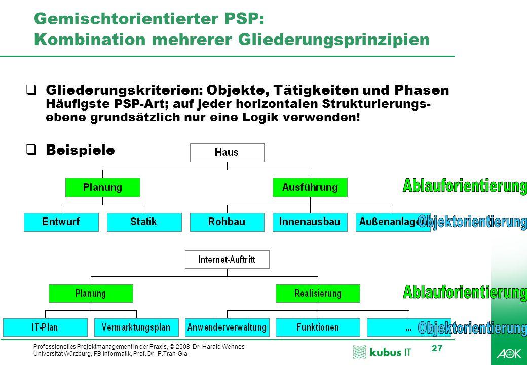 kubus IT Professionelles Projektmanagement in der Praxis, © 2008 Dr. Harald Wehnes Universität Würzburg, FB Informatik, Prof. Dr. P.Tran-Gia 27 Gemisc