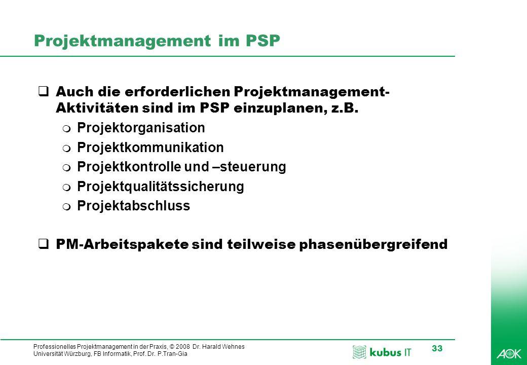 kubus IT Professionelles Projektmanagement in der Praxis, © 2008 Dr. Harald Wehnes Universität Würzburg, FB Informatik, Prof. Dr. P.Tran-Gia 33 Projek