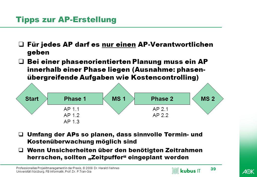 kubus IT Professionelles Projektmanagement in der Praxis, © 2008 Dr. Harald Wehnes Universität Würzburg, FB Informatik, Prof. Dr. P.Tran-Gia 39 Tipps