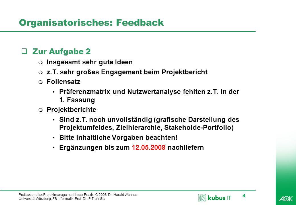 kubus IT Professionelles Projektmanagement in der Praxis, © 2008 Dr. Harald Wehnes Universität Würzburg, FB Informatik, Prof. Dr. P.Tran-Gia 4 Organis