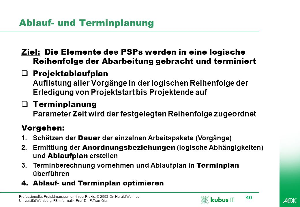 kubus IT Professionelles Projektmanagement in der Praxis, © 2008 Dr. Harald Wehnes Universität Würzburg, FB Informatik, Prof. Dr. P.Tran-Gia 40 Ablauf