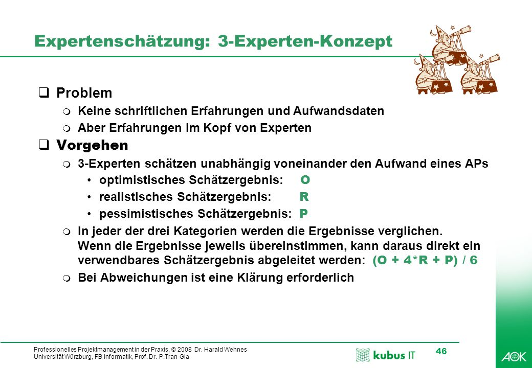 kubus IT Professionelles Projektmanagement in der Praxis, © 2008 Dr. Harald Wehnes Universität Würzburg, FB Informatik, Prof. Dr. P.Tran-Gia 46 Expert