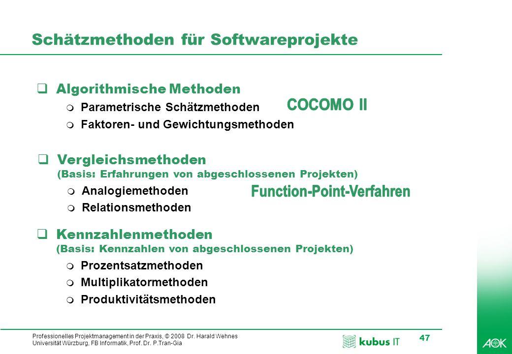 kubus IT Professionelles Projektmanagement in der Praxis, © 2008 Dr. Harald Wehnes Universität Würzburg, FB Informatik, Prof. Dr. P.Tran-Gia 47 Schätz