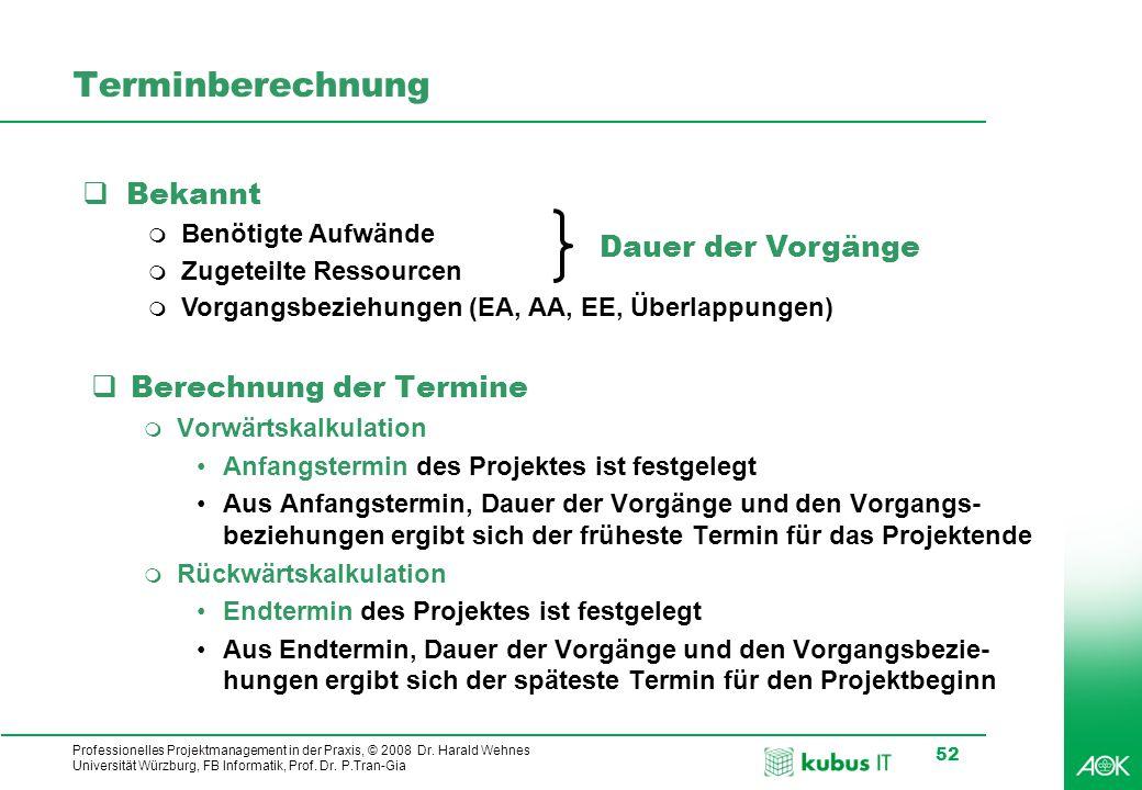 kubus IT Professionelles Projektmanagement in der Praxis, © 2008 Dr. Harald Wehnes Universität Würzburg, FB Informatik, Prof. Dr. P.Tran-Gia 52 Termin